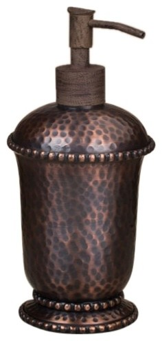 Hammered soap dispenser antique copper rustic soap lotion dispensers by chelsea gifts for Hammered metal bathroom accessories