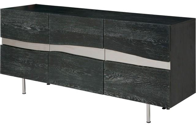 Sorrento live edge three door buffet in grey oxidized oak