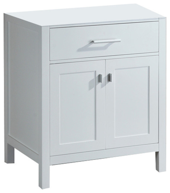 "London 30"" Single Sink Base Cabinet in White Modern"
