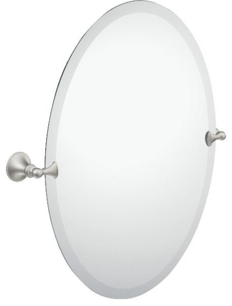 Glenshire Oval Mirror Brushed Nickel Transitional Bathroom Mirrors By Hipp Modern