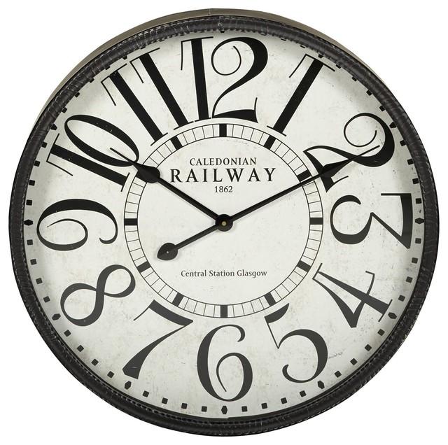 railway horloge en m tal 59cm de diam tre r tro. Black Bedroom Furniture Sets. Home Design Ideas