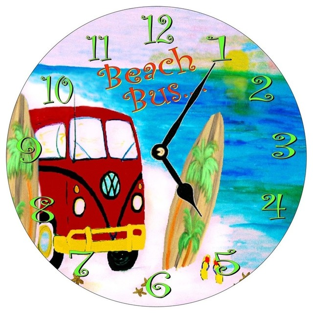 Beach Bus Wall Clock Beach Style Wall Clocks