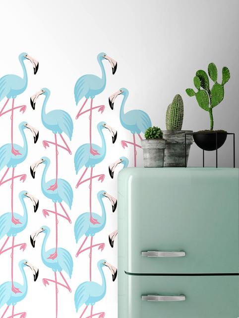 Ambiance blue flamingo fond blanc for Papier peint moderne chambre
