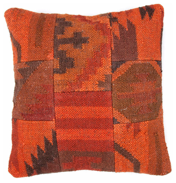 Southwestern Pillows And Throws : Jaipur Thal Handmade Wool/ Jute Orange/Brown Pillow (18