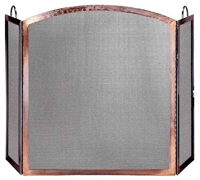 3 panel fire screen in antique copper with ar contemporary fireplace accessories - Houzz fireplace screens ...
