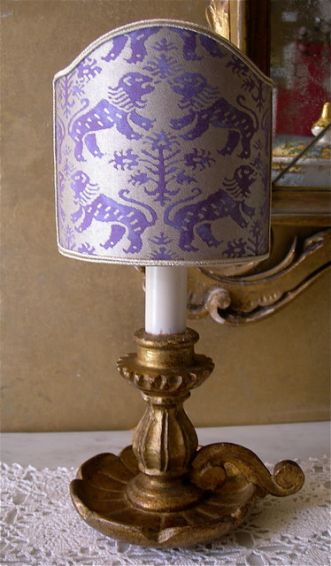 Antique Gilt Carved Wood Candlestick Table Lamp With