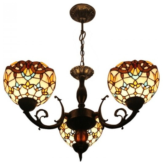 Tiffany Stained Glass Baroque Lights Vintage Dining Room Chandelier