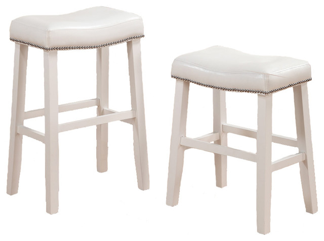 2 Barstools Faux Leather Saddle Nailhead Trim White  : traditional bar stools and counter stools from www.houzz.com size 640 x 476 jpeg 38kB