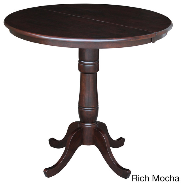 round 36 inch top pedestal table with 12 inch leaf