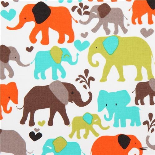 White Elephant Fabric By Michael Miller From The Usa Orange Fabric By Modes Group Ltd