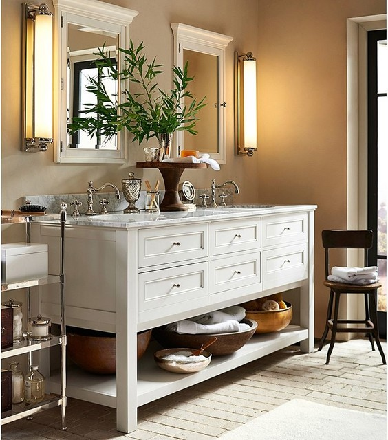Classic Double Sink Console White Traditional Bathroom Vanities And Sink Consoles