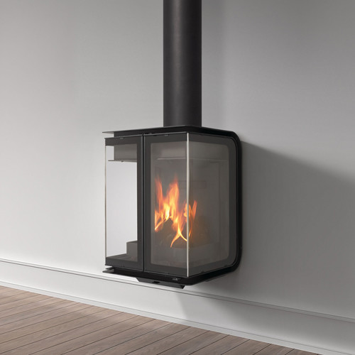Rocal Oban Wall Mounted Wood Burning Stove Contemporary Indoor Fireplaces East Anglia By