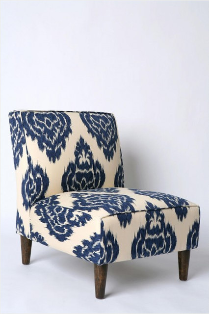 Indigo Ikat Slipper Chair Eclectic Armchairs And