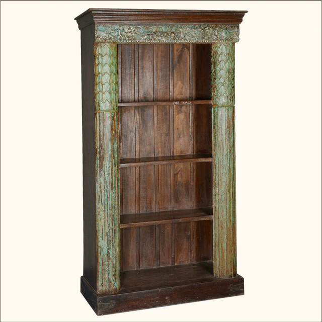 Greek Column Reclaimed Wood 4-Shelf Open Display Bookcase ...