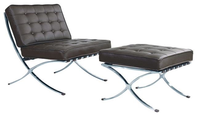 Bellatrix modern espresso leather x leg chair and for Bella flora double chaise lounge