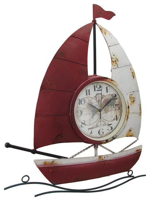 Red And White Sailboat Shaped Old World Map Metal Wall