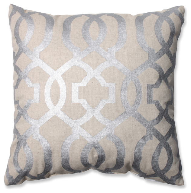 Modern Silver Pillows : Geometric Throw Pillow, Silver and Linen - Contemporary - Decorative Pillows - by Pillow Perfect Inc
