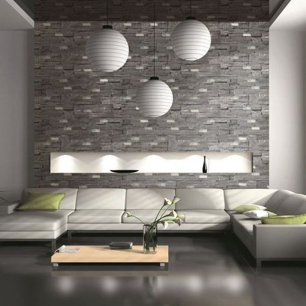 Petra dk grey split face tiles natural stone wall tiles contemporary living room wales - Tiles design for living room wall ...