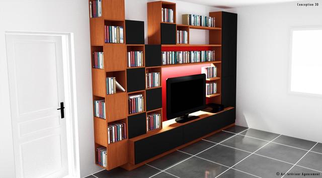 Plan 3d meuble tv salon biblioth que contemporain for Agencement meuble salon