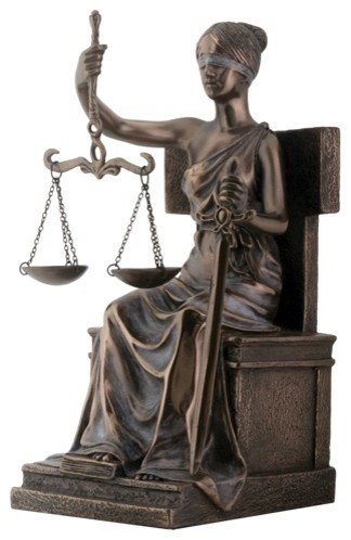 8 Inch Bronze Colored Resin Seated Justice Holding Scale Statue - Transitional - Decorative ...