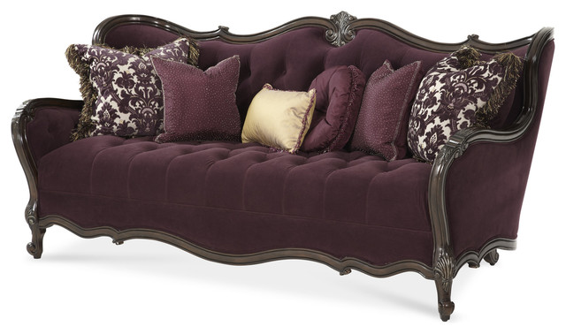 Lavelle Wood Trim Tufted Sofa Dark Plum By Michael Amini