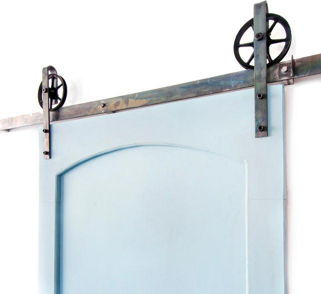 Industrial Spoke European Slide Door Hardware, Industrial Green, 8ft, 4 Roller - Industrial ...