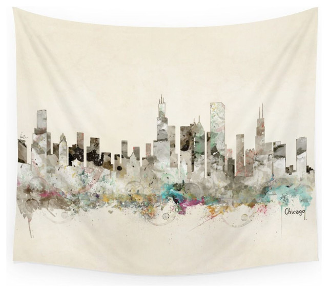 Society6 Chicago City Skyline Wall Tapestry Large 88