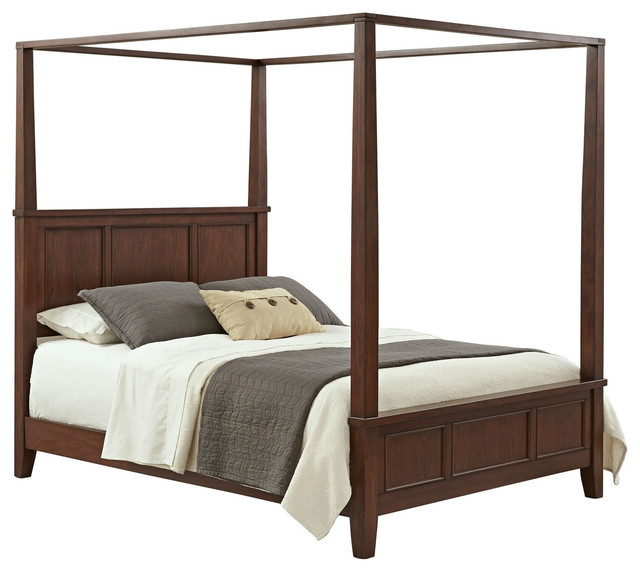 King Modern Classic Canopy Bed Cherry Wood Finish