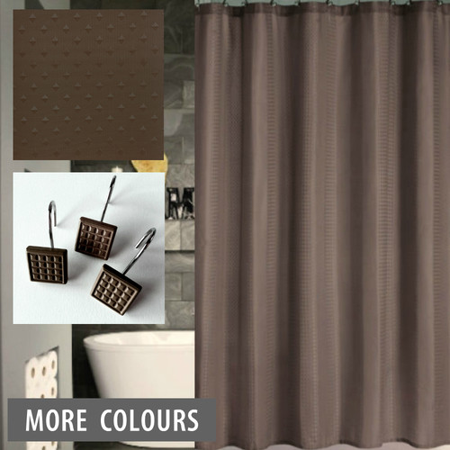 Dobby Shower Curtain And 12 X Decorative Hooks Chocolate Contemporary Shower Curtains