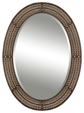 Tuscan Oval Distressed Oil Rubbed Bronze Frame Mirror Contemporary Wall Mirrors By Premier