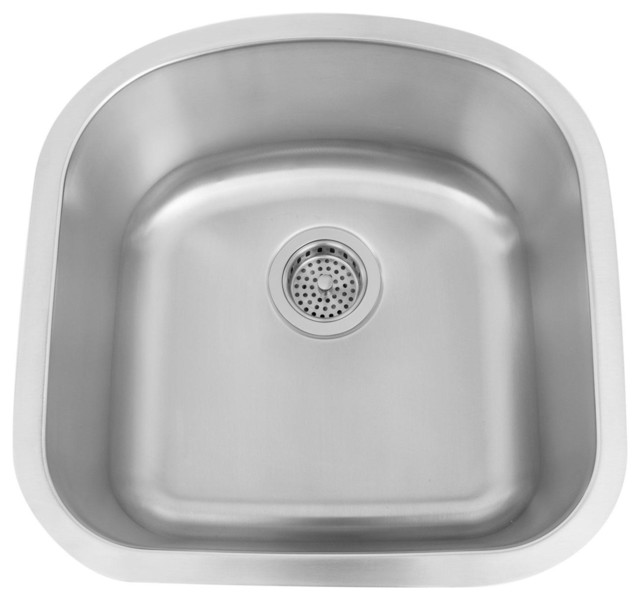 "19"" Infinite D-Shaped Stainless Steel Undermount Prep Sink traditional-kitchen-sinks"