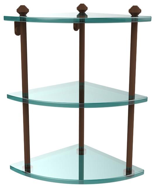 Triple Corner Glass Shelf Antique Bronze Contemporary Bathroom Cabinets
