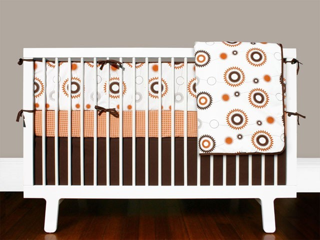Olli lime bille crib bedding set modern baby bedding by fawn forest - Modern baby bedding sets ...