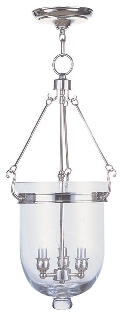 Foyer Semi Flush Mount Lighting : Polished nickel foyer hall semi flush mount transitional