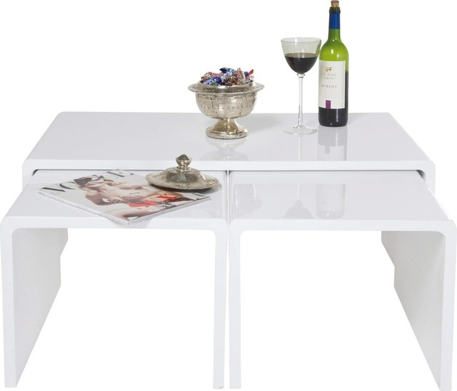 Couchtisch Shiny White 3 Set  Contemporary  Coffee