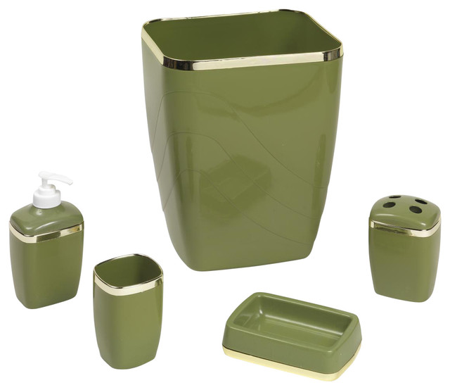 5 piece bathroom waste basket set with gold trim sage for Gold bathroom wastebasket