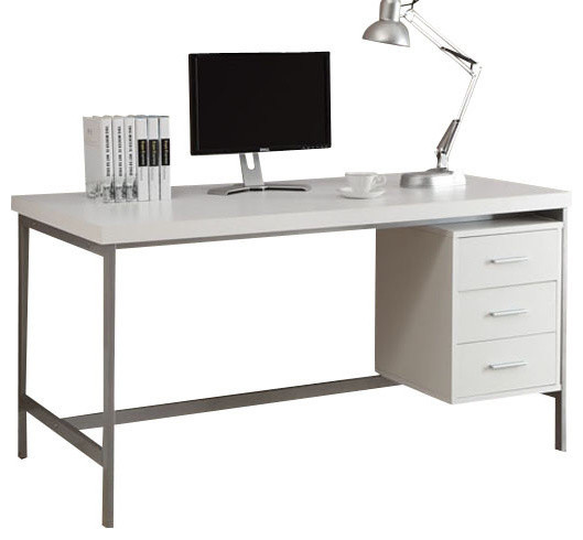 Judson Hollow Core Desk White With Silver Metal