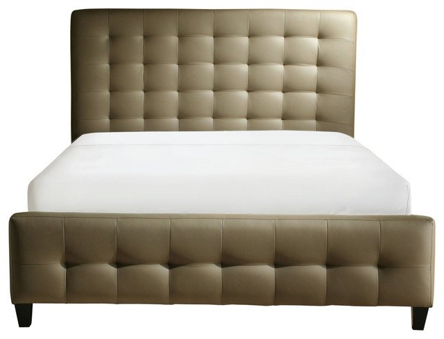 Zen Collection Queen Size Bonded Leather Tufted Bed Contemporary Beds