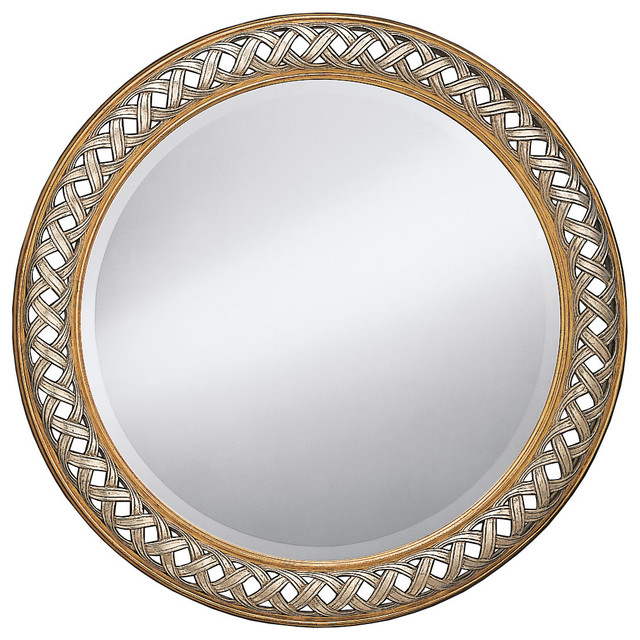 round openwork framed wall mirror