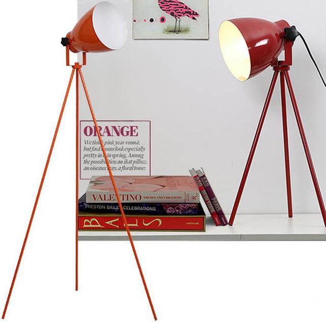 Modern simple orange baked metal floor lamp modern for Orange metal floor lamp