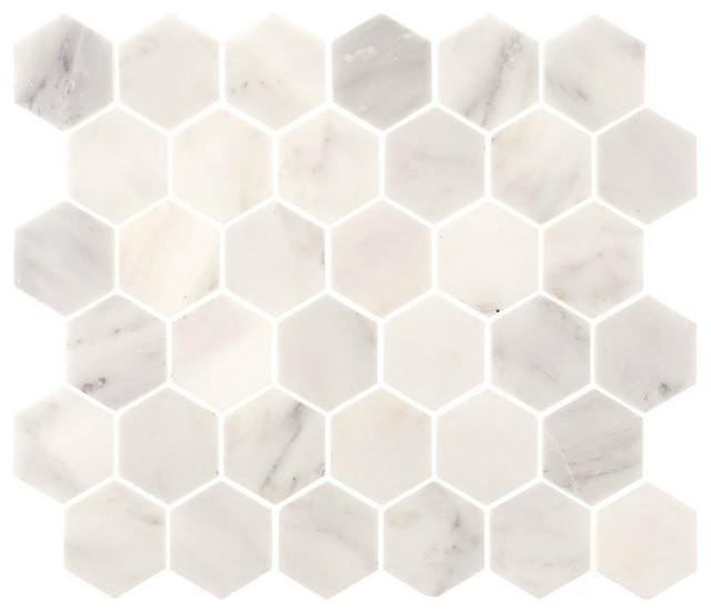 aspen white marble 2 hexagon tile backsplash bathroom
