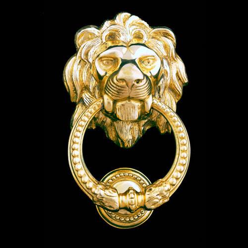 Lion head brass door knocker eclectic door knockers by brass gallery - Lion face door knocker ...