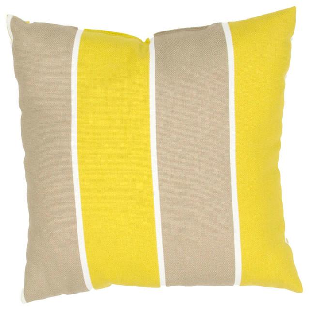 Modern Yellow Pillow : Yellow and Gray Cabana Stripe Pillow, 18