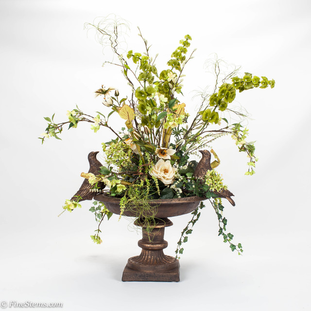 Bird Bath Silk Floral Arrangement Traditional Artificial Flower Arrangements Chicago By