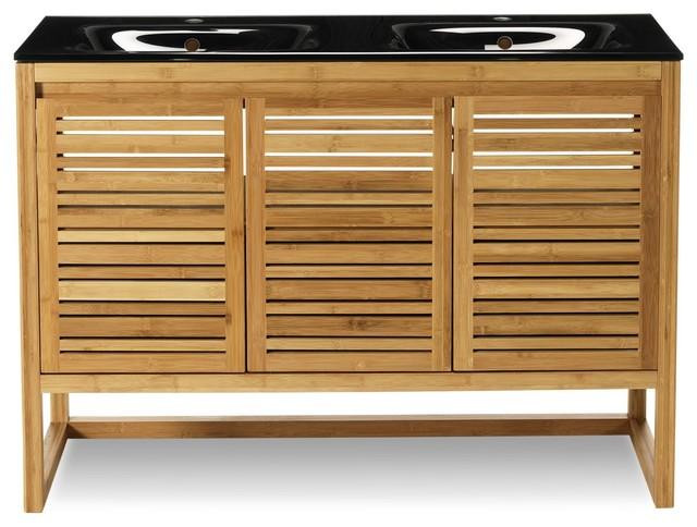 Danong meuble de salle de bains en bambou 120cm - Meuble console contemporain ...