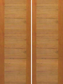 solid wood double door contemporary horizontal groove flush panel