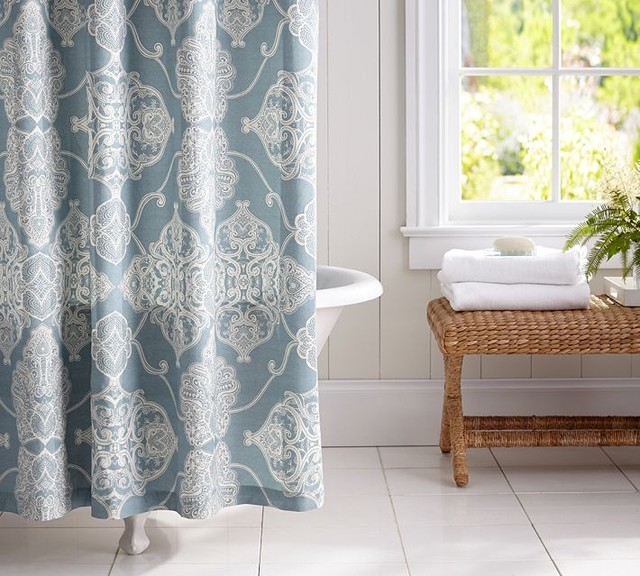 Good Spa Like Shower Curtains #4: Apartment Bathroom Shower Curtain : Alana Medallion Shower Curtain Dark  Porcelain Blue Traditional Shower Curtains