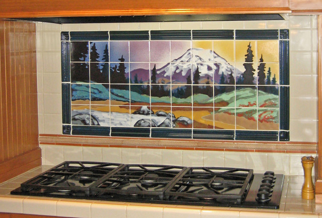 Mountain tile backsplash mural contemporary tile for Custom mural tiles