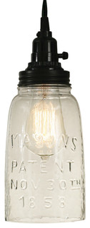 Rustic Brown Half Gallon Mason Jar Pendant Lamp with Clear Glass, Pendant Only