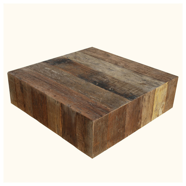 Appalachian Rustic Old Wood Square Box Style Coffee Table ...